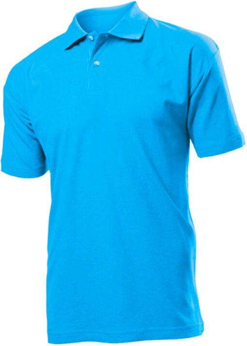 Рубашка поло мужская Stedman, 100 % хлопок пике, классический крой, 2 пуговицы, рукава без манжет, плотность 170 гр, цвет голубой
